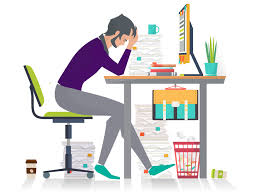 illustration frustrated person sitting at desk