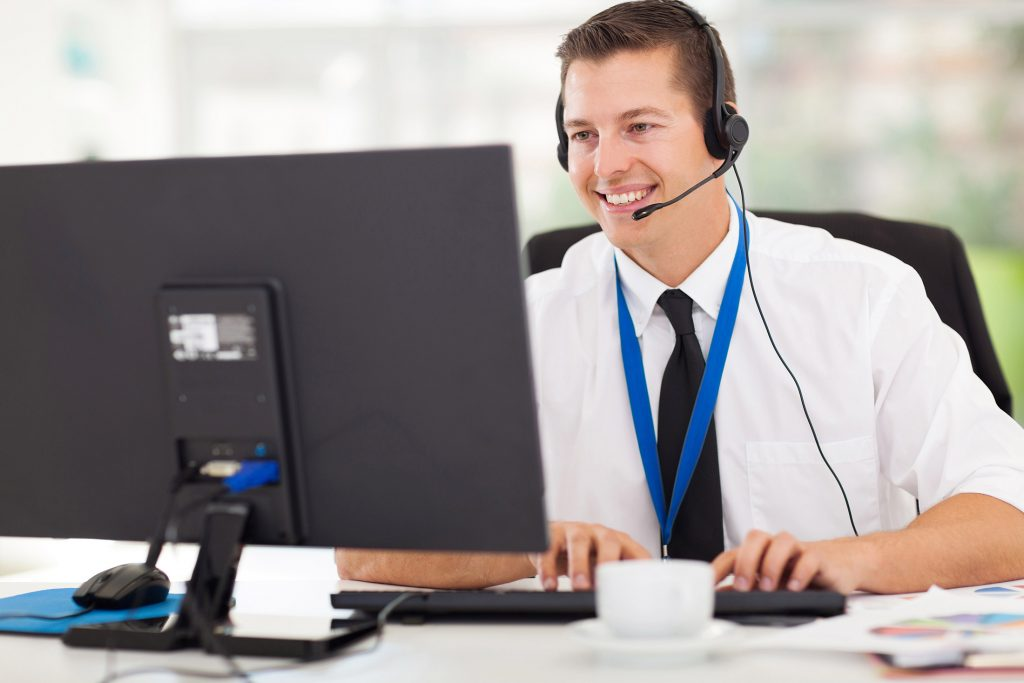 professional providing remote IT support from home